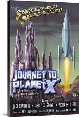 Journey to Planet X: Retro Travel Poster