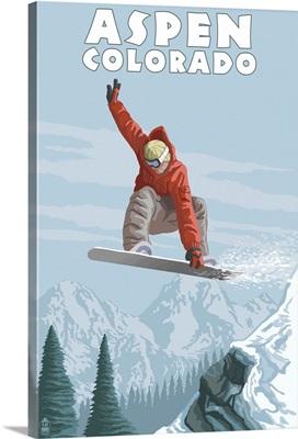Jumping Snowboarder - Aspen, Colorado: Retro Travel Poster