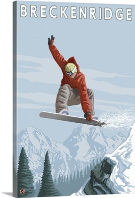 Jumping Snowboarder - Breckenridge, Colorado: Retro Travel Poster