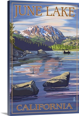 June Lake, California Scene with Sierra Wave: Retro Travel Poster