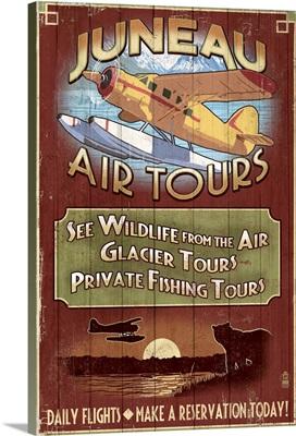 Juneau, Alaska - Air Tours Vintage Sign: Retro Travel Poster