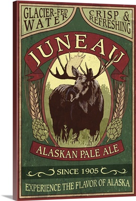 Juneau, Alaska - Moose Ale Vintage Sign: Retro Travel Poster