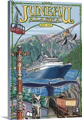 Juneau, Alaska Views: Retro Travel Poster