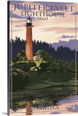 Jupiter Inlet Lighthouse - Jupiter, Florida: Retro Travel Poster