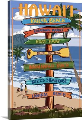 Kailua, Hawaii - Kailua Beach Sign Destination: Retro Travel Poster