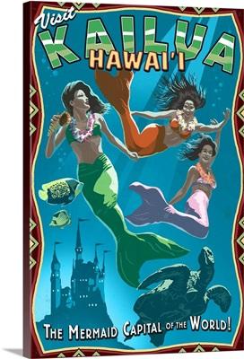 Kailua, Hawaii, Mermaid Vintage Sign