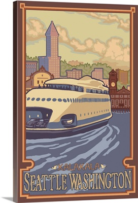 Kalakala Ferry: Retro Travel Poster