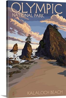 Kalaloch Beach - Olympic National Park, Washington: Retro Travel Poster