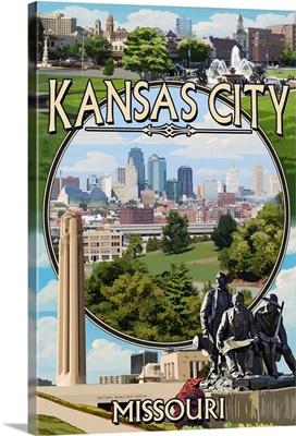 Kansas City, Missouri - Montage Scenes: Retro Travel Poster