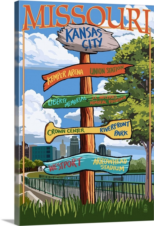 Kansas City Wall Art kansas city, missouri - signpost destinations: retro travel poster
