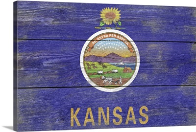 Kansas State Flag on Wood