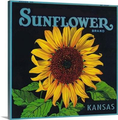 Kansas, Sunflower Brand Crate Label