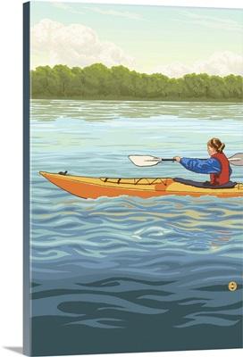 Kayak (Female Version): Retro Poster Art