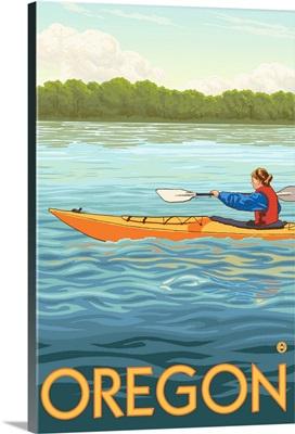 Kayak Scene - Oregon: Retro Travel Poster