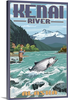 Kenai River, Alaska - Salmon Fisherman: Retro Travel Poster