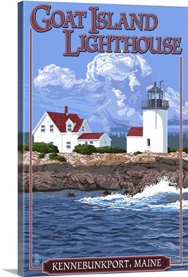 Kennebunkport, Maine - Goat Island Lighthouse: Retro Travel Poster