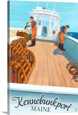 Kennebunkport, Maine - Lobster Boat: Retro Travel Poster