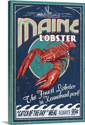 Kennebunkport, Maine - Lobster Vintage Sign: Retro Travel Poster