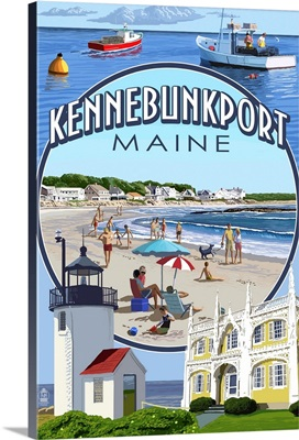 Kennebunkport, Maine - Montage Scenes: Retro Travel Poster