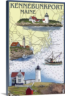 Kennebunkport, Maine - Nautical Chart: Retro Travel Poster
