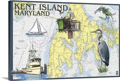 Kent Island, Maryland - Nautical Chart: Retro Travel Poster