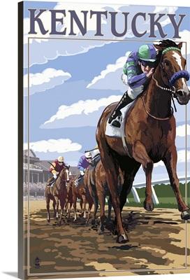 Kentucky - Horse Racing Track Scene: Retro Travel Poster
