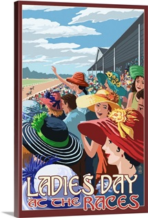 Kentucky - Ladies Day at the Track Horse Racing: Retro Travel Poster