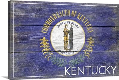 Kentucky State Flag on Wood