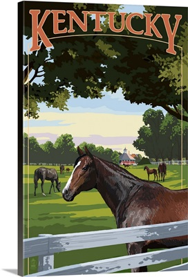 Kentucky - Thoroughbred Horses Farm Scene: Retro Travel Poster