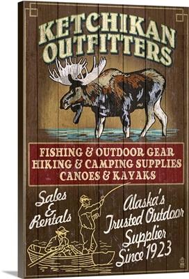 Ketchikan Outfitters Moose - Ketchikan, Alaska: Retro Travel Poster