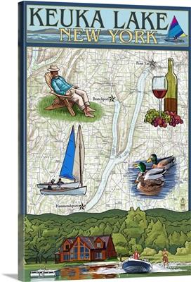 Keuka Lake, New York - Nautical Chart: Retro Travel Poster