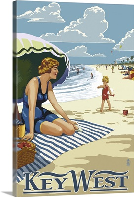 Key West, Florida - Beach Scene: Retro Travel Poster