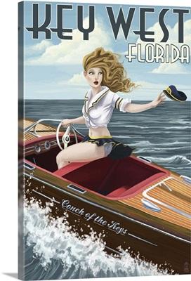 Key West, Florida - Boating Pinup Girl: Retro Travel Poster