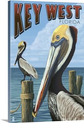 Key West, Florida - Brown Pelican: Retro Travel Poster