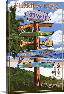Key West, Florida - Destination Signs: Retro Travel Poster