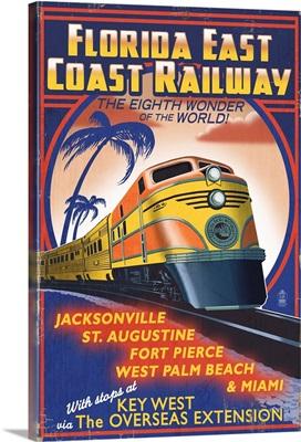 Key West, Florida - East Coast Railway: Retro Travel Poster