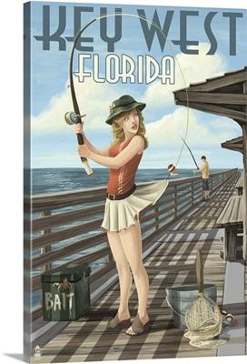 Key West, Florida - Fishing Pinup Girl: Retro Travel Poster
