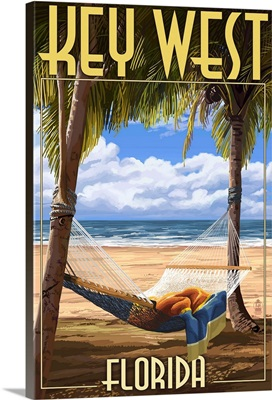 Key West, Florida - Hammock Scene: Retro Travel Poster
