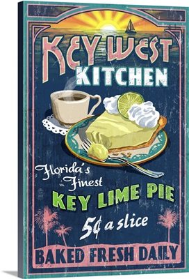 Key West, Florida - Key Lime Pie Vintage Sign: Retro Food Poster
