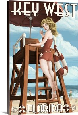 Key West, Florida - Lifeguard Pinup Girl: Retro Travel Poster