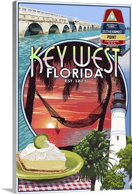 Key West, Florida - Montage: Retro Travel Poster