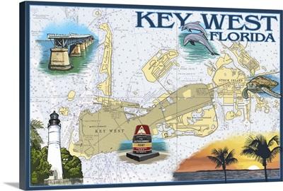 Key West, Florida - Nautical Chart: Retro Travel Poster