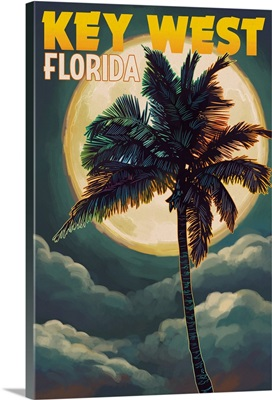 Key West, Florida - Palms and Moon: Retro Travel Poster