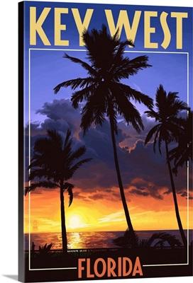 Key West, Florida - Palms and Sunset: Retro Travel Poster