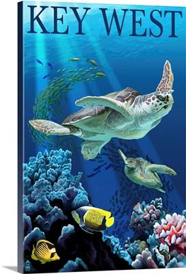 Key West, Florida - Sea Turtles: Retro Travel Poster