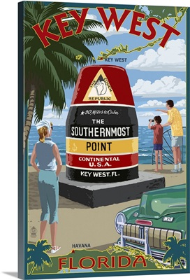 Key West, Florida - Southernmost Point: Retro Travel Poster