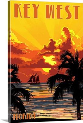 Key West, Florida - Sunset and Ship: Retro Travel Poster