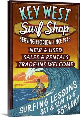 Key West, Florida - Surf Shop Vintage Sign: Retro Travel Poster
