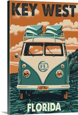 Key West, Florida - VW Van Letterpress: Retro Travel Poster