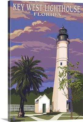 Key West Lighthouse, Florida Sunset Scene: Retro Travel Poster